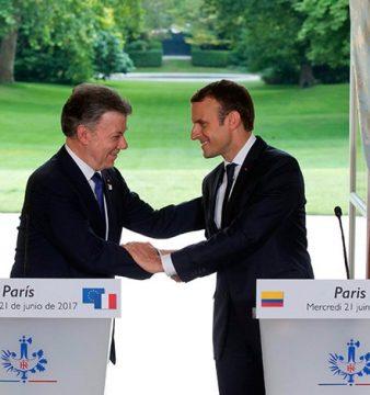 Juan Manuel Santos y Macron