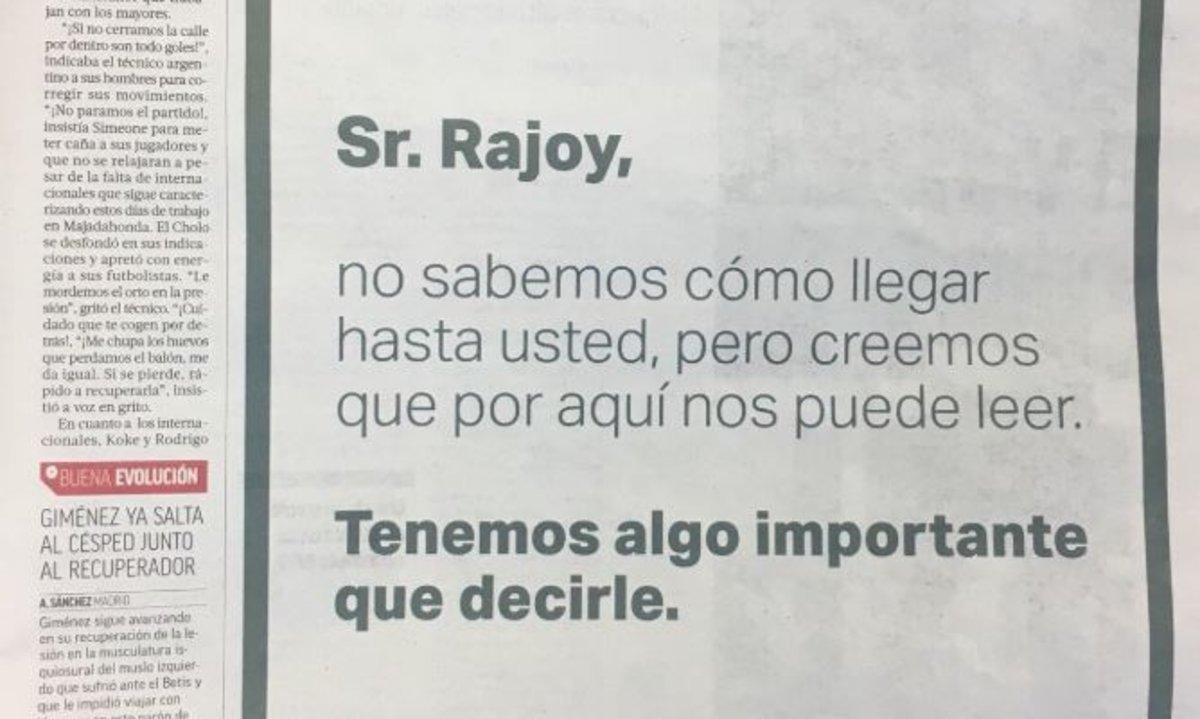'Salvados' invita a Rajoy a través de dos anuncios en el diario deportivo 'Marca'