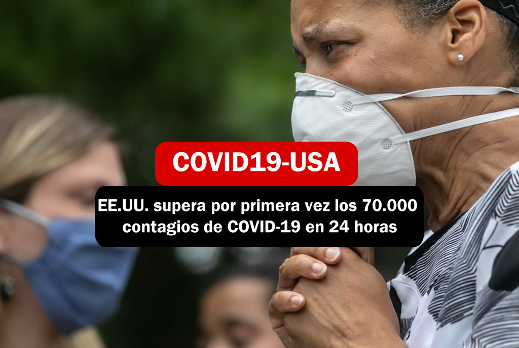 EE.UU. supera por primera vez los 70.000 contagios de COVID-19 en 24 horas